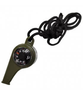 Green whistle with compass and thermometer