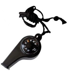 black whistle with compass and thermometer
