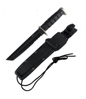 Black tactical knife, blade 17.8 cm.