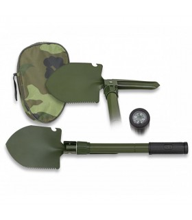 Foldable shovel with compass