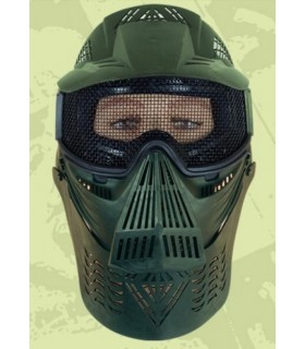 Green airsoft mask with grid