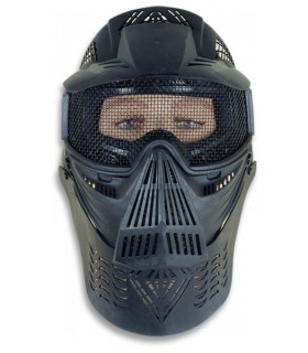 Black airsoft mask with grid